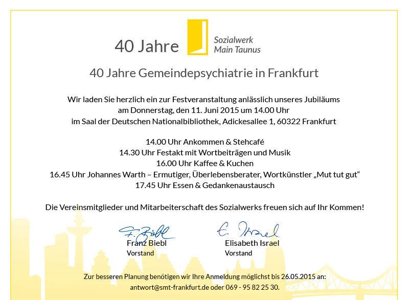 jubiläumsfeier – 40 jahre sozialwerk main taunus –, Einladung